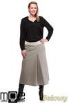 CM1243 Klasyczna spódnica midi z kontrafałdą - beżowa w sklepie internetowym Cudmoda