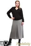 CM1243 Klasyczna spódnica midi z kontrafałdą - popielata w sklepie internetowym Cudmoda