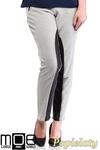 CM1320 Damskie spodnie bryczesy ze wstawkami z eko-skóry 44-52 - popielate w sklepie internetowym Cudmoda