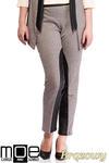 CM1320 Damskie spodnie bryczesy ze wstawkami z eko-skóry 44-52 - brązowe w sklepie internetowym Cudmoda