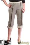 CM1316 Kobiece spodnie bryczesy ze złotymi zamkami 44-52 - beżowe w sklepie internetowym Cudmoda