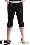 CM1316 Kobiece spodnie bryczesy ze złotymi zamkami 44-52 - czarne w sklepie internetowym Cudmoda