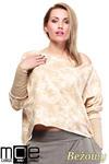 CM1322 Asymetryczna kobieca bluza typu batik - beżowa w sklepie internetowym Cudmoda