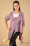 CM0134 Długi sweter kardigan ponczo - liliowy w sklepie internetowym Cudmoda