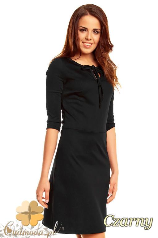312bb0eace CM1369 Prosta sukienka wiązana z przodu z rękawem 3 4 - czarna w sklepie  internetowym. Powiększ zdjęcie