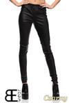 CM1422 Skórzane spodnie damskie - rurki - czarne w sklepie internetowym Cudmoda