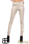 CM1422 Skórzane spodnie damskie - rurki - beżowe w sklepie internetowym Cudmoda