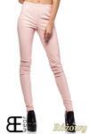 CM1422 Skórzane spodnie damskie - rurki - różowe w sklepie internetowym Cudmoda