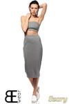 CM1424 Dopasowana spódnica damska ze złotym zamkiem z tyłu - szara w sklepie internetowym Cudmoda