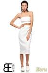 CM1424 Dopasowana spódnica damska ze złotym zamkiem z tyłu - ecru w sklepie internetowym Cudmoda