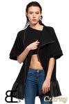 CM1430 Tunika damska z falbanką i złotym zamkiem - czarna w sklepie internetowym Cudmoda