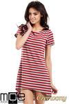 CM1551 Asymetryczna dopasowana tunika damska - czerwona w sklepie internetowym Cudmoda