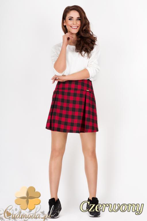 edaf1f0df6 CM1539 Modna spódniczka mini w kratkę - czerwona w sklepie internetowym  Cudmoda. Powiększ zdjęcie