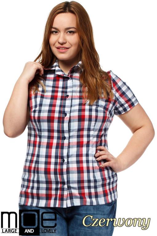 0d416799e7 CM1651 Elegancka koszula w kratkę z krótkim rękawem - czerwona w sklepie  internetowym Cudmoda. Powiększ zdjęcie