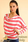 CM0151 Sweterek nietoperz bluzka w marynarskie paski - koralowo białe w sklepie internetowym Cudmoda