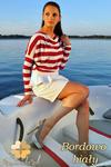 CM0151 Sweterek nietoperz bluzka w marynarskie paski - bordowo białe w sklepie internetowym Cudmoda
