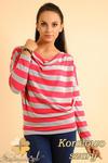 CM0151 Sweterek nietoperz bluzka w marynarskie paski - koralowo szare w sklepie internetowym Cudmoda