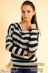 CM0151 Sweterek nietoperz bluzka w marynarskie paski - czarno szare w sklepie internetowym Cudmoda