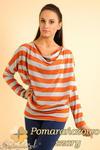 CM0151 Sweterek nietoperz bluzka w marynarskie paski - pomarańczowo szare w sklepie internetowym Cudmoda