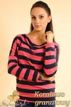CM0151 Sweterek nietoperz bluzka w marynarskie paski - koralowo granatowe w sklepie internetowym Cudmoda
