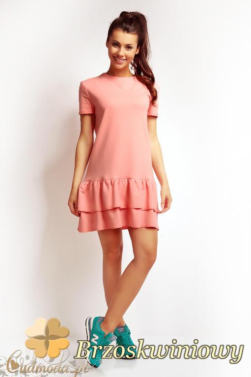9df4efd812 CM1676 Delikatnie rozkloszowana sukienka na lato - brzoskwiniowa w sklepie  internetowym Cudmoda. Powiększ zdjęcie