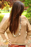 CM0154 Luźny kobiecy sweter kimono nietoperz warkocz - kamelowy w sklepie internetowym Cudmoda