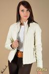 CM0083 Ocieplana kurtka z ekoskóry ze stójką ecru w sklepie internetowym Cudmoda
