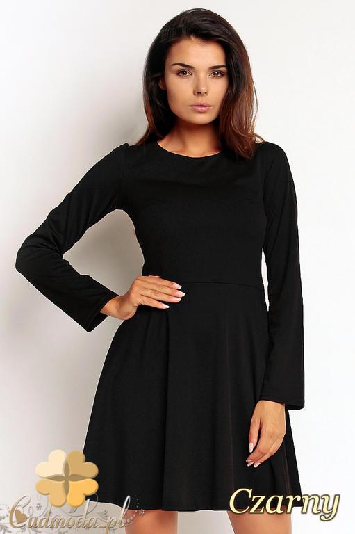 6aa5dbec70 CM1971 Rozkloszowana sukienka mini z długim rękawem - czarna w sklepie  internetowym Cudmoda. Powiększ zdjęcie