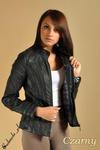 CM0083 Ocieplana kurtka z ekoskóry ze stójką czarna w sklepie internetowym Cudmoda