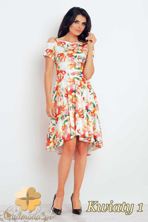 747ea5dcf1 CM2399 Asymetryczna sukienka midi w kwiaty - kwiaty 1 w sklepie  internetowym Cudmoda. Powiększ zdjęcie