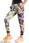 CM2487 Dresowe spodnie w kwiaty idealne na fitness w sklepie internetowym Cudmoda