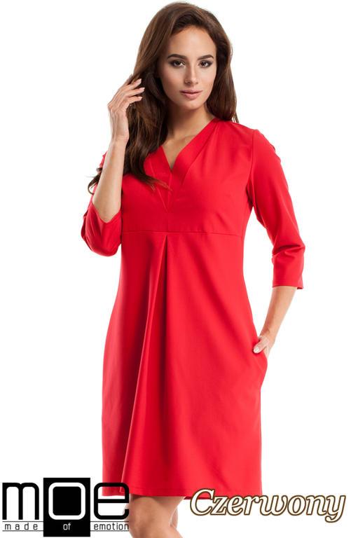 c4a9873a9a CM2562 Wieczorowa sukienka z podwójnym dekoltem - czerwona w sklepie  internetowym Cudmoda. Powiększ zdjęcie