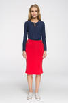 CM2714 Biurowa spódniczka ze złotymi zamkami - czerwona w sklepie internetowym Cudmoda