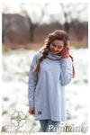CM2703 Bluza oversize z kominem i kieszenią - popielata w sklepie internetowym Cudmoda