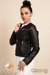 CM0236 Pikowana kurtka ramoneska zamki - czarna w sklepie internetowym Cudmoda