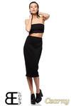 CM1424 Dopasowana spódnica damska ze złotym zamkiem z tyłu - czarna OUTLET w sklepie internetowym Cudmoda