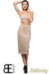 CM1424 Dopasowana spódnica damska ze złotym zamkiem z tyłu - beżowa OUTLET w sklepie internetowym Cudmoda
