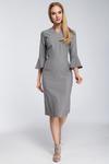 CM2923 Dopasowana sukienka z falbanami przy rękawach - szara w sklepie internetowym Cudmoda