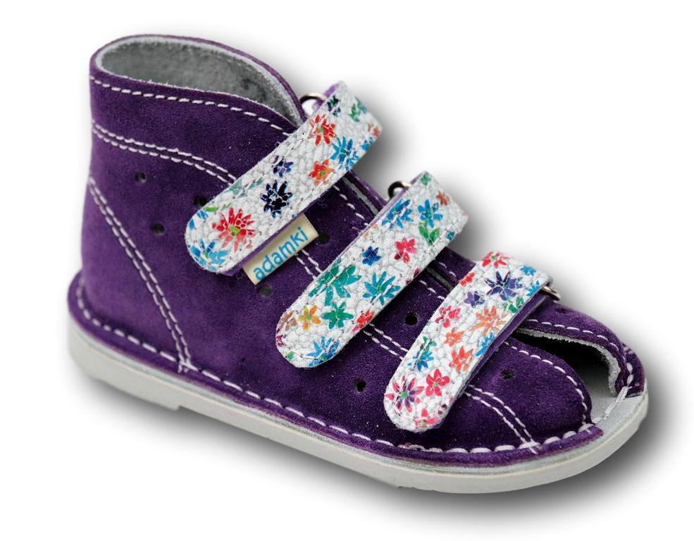 3b7d4ce42455d Adamki profilaktyczne buty zdrowotne 015N fiolet/biały kwiat w sklepie  internetowym tomcio.pl. Powiększ zdjęcie