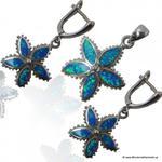 Komplet biżuterii kolczyki i wisiorek z niebieski opalem w sklepie internetowym BizuteriaDiamento.pl