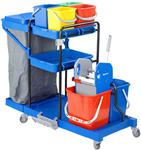 Wózek serwisowy do sprzątania 2 x wiadro 18l, 4 x wiaderko 6l, 2 x kuweta, worek na śmieci Zestaw do sprzątania w sklepie internetowym esilver.com.pl