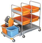 Wózek serwisowy do sprzątania: 2 x wiadro 20 L, 4 x kuweta głęboka, 1 x prasa do mopów w sklepie internetowym esilver.com.pl