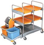 Wózek serwisowy do sprzątania: 2 wiadra 20L, 4 półki, prasa do mopów w sklepie internetowym esilver.com.pl