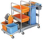 Wózek sprzątający: 2 wiaderka 20L, 2 półki, 2 wiaderka 6L, 2 kosze na śmieci, prasa w sklepie internetowym esilver.com.pl