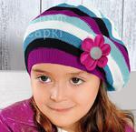 Beret na wiosnę dla dziewczynki, Nadzieja rozm. 50-53 cm - turkusowy+fioletowy w sklepie internetowym Kocham Czapki