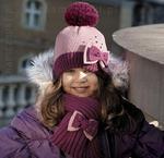 Komplet czapka+szal zimowy dla dziewczynki Alina róż + fiolet rozm. 50-52 cm - róż + fiolet w sklepie internetowym Kocham Czapki