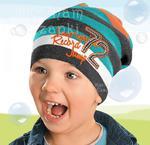 Czapka dzianinowa dla chłopca Basil rozm. 53-56 cm - morski / pomarańcz w sklepie internetowym Kocham Czapki