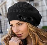 Beret kobiecy damski Luiza II rozm. 56-58 cm - czarny w sklepie internetowym Kocham Czapki