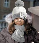 Komplet Alina jasny krem + szary rozm. 50-52 cm - jasny krem + szary w sklepie internetowym Kocham Czapki