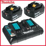 DC18RD + 2xBL1840B Dwuportowa szybka ładowarka 7.2V-18V Li-Ion MAKITA, port USB do ład. smartfonów + akumulatory 2 sztuki 18V/4.0Ah (DC 18RD, dwa port w sklepie internetowym Makita Sklep